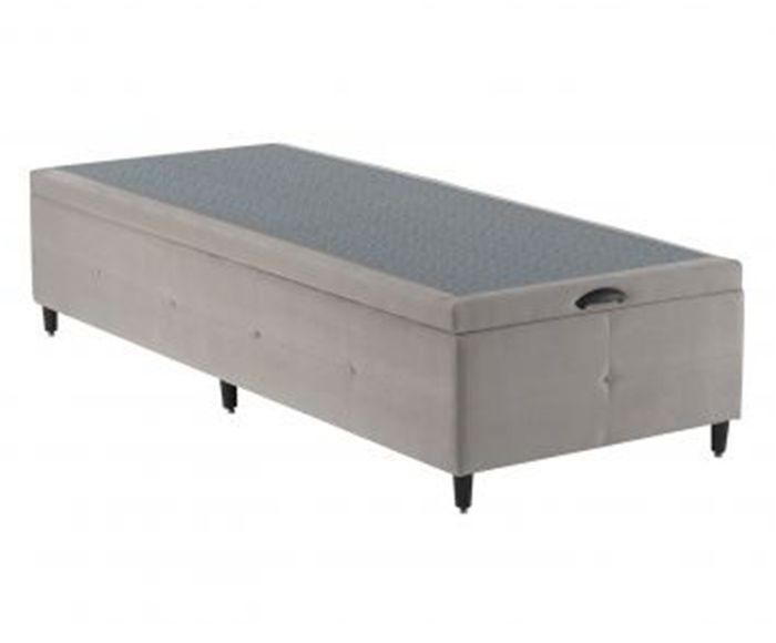 Cama Box Baú em Veludo Design Bege - Solteiro, Solteiro   Westwing.com.br