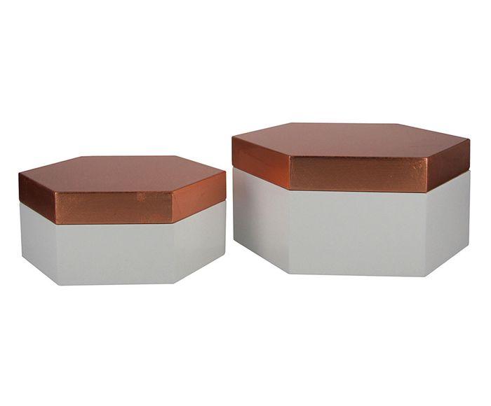 Jogo de Caixas Decorativas Dix Marly Branco e Dourado   Westwing.com.br