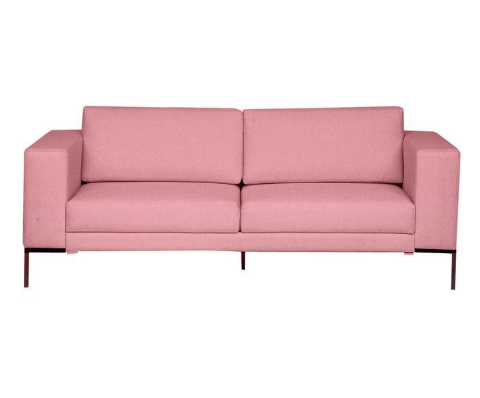 Sofá em Linho Otto Rosa Flamingo - 210X83X85cm | Westwing.com.br
