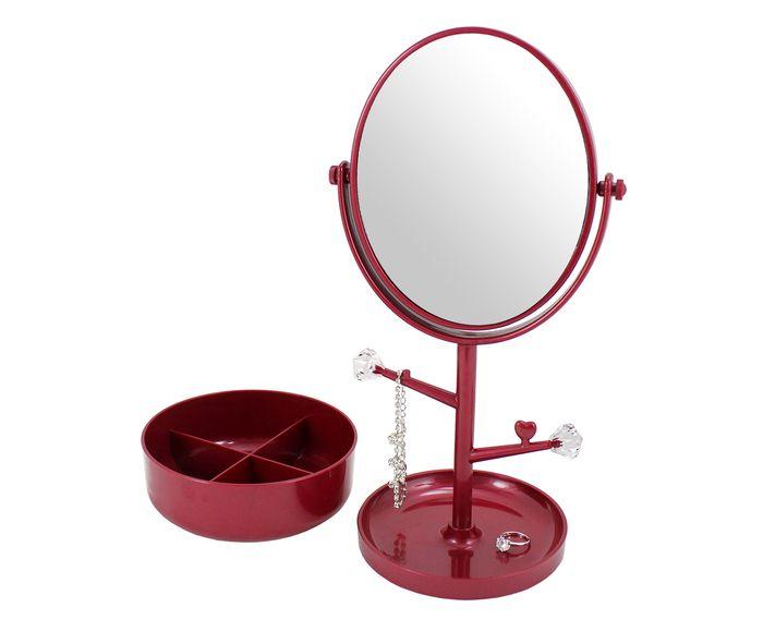 Espelho de Mesa com Suporte Gali Vermelho - 34,5X17cm | Westwing.com.br