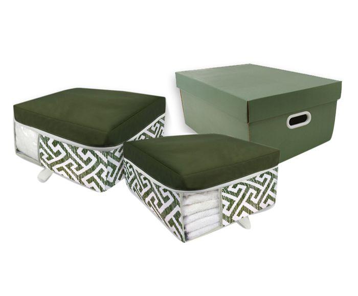 Jogo Organizador de Toalha Zig - Zag Bicolor Verde - 03 Peças | Westwing.com.br