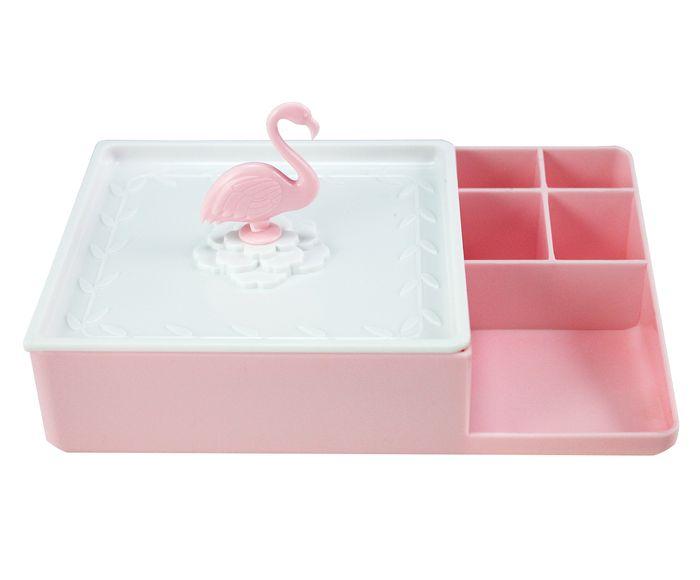 Organizador Multiuso Flamingo Rosa e Branco - 17,4X8,4X11,6cm | Westwing.com.br