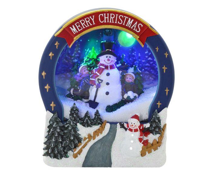 Enfeite Natal Luz e Movimento Globo Snowman - 22X26X7cm | Westwing.com.br