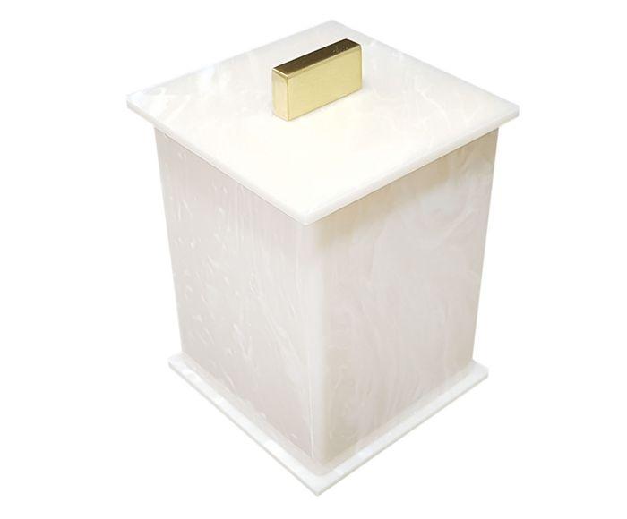 Pote Multiuso Elegance Travertino e Dourado - 7X10X7cm | Westwing.com.br