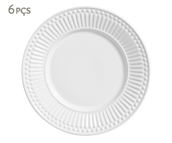 Jogo de Pratos para Sobremesa Roma Branco - 20,5cm | Westwing.com.br