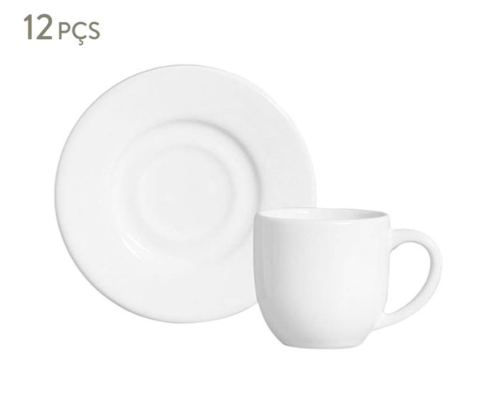 Jogo de Xícaras para Café com Pires Mônaco Branco - 72ml   Westwing.com.br