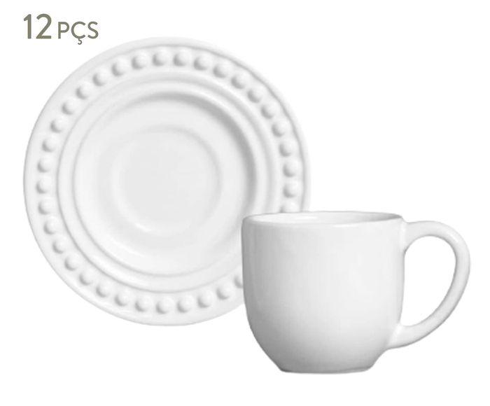 Jogo de Xícaras para Café com Pires Atenas Branco - 75ml | Westwing.com.br