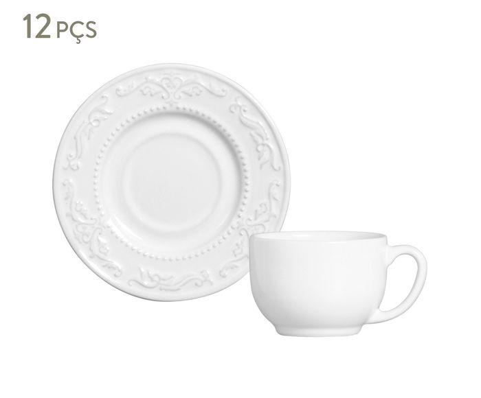 Jogo de Xícaras para Chá com Pires Acanthus Branco - 160ml | Westwing.com.br