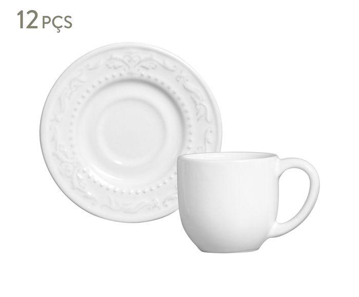 Jogo de Xícaras para Café com Pires Acanthus Branco - 75ml | Westwing.com.br
