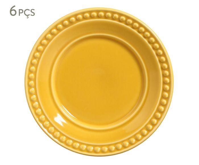 Jogo de Pratos para Sobremesa Atenas Mostarda - 20,5cm   Westwing.com.br