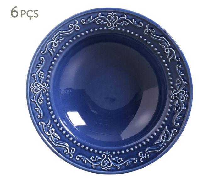 Jogo de Pratos Fundos Acanthus Azul Navy - 22cm   Westwing.com.br