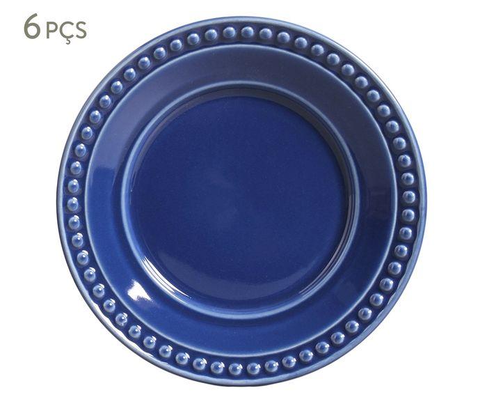 Jogo de Pratos para Sobremesa Atenas Azul Navy - 20,5cm   Westwing.com.br