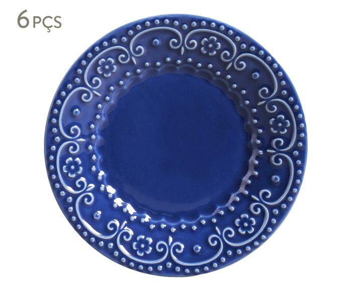 Jogo de Pratos para Sobremesa Esparta Azul Navy - 20,5cm   Westwing.com.br