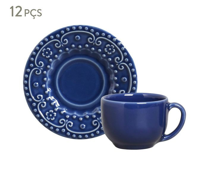 Jogo de Xícaras para Chá com Pires Esparta Azul Navy - 160ml | Westwing.com.br