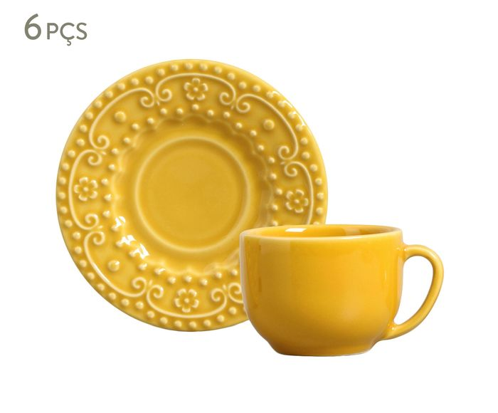 Jogo de Xícaras para Chá com Pires Esparta Mostarda - 160ml   Westwing.com.br