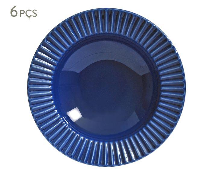 Jogo de Pratos Fundos Plissé Azul Navy - 22cm | Westwing.com.br