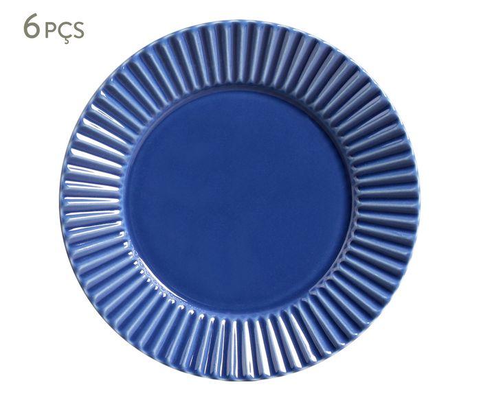 Jogo de Pratos Rasos Plissé Azul Navy - 26,5cm | Westwing.com.br