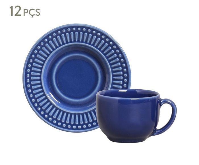 Jogo de Xícaras para Chá com Pires Roma Azul Navy - 160ml | Westwing.com.br