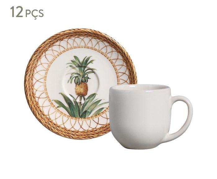 Jogo de Xícaras para Café com Pires Coup Pineapple Natural - 112ml   Westwing.com.br