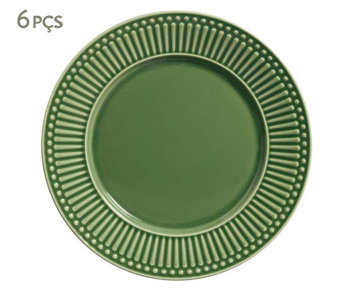 Jogo de Pratos Rasos Roma Verde Sálvia - 26cm | Westwing.com.br