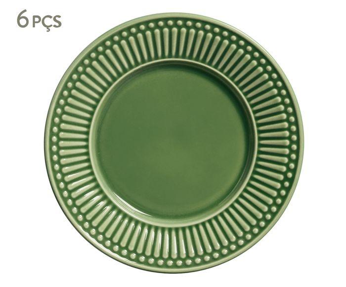 Jogo de Pratos para Sobremesa Roma Verde Sálvia - 20,5cm | Westwing.com.br