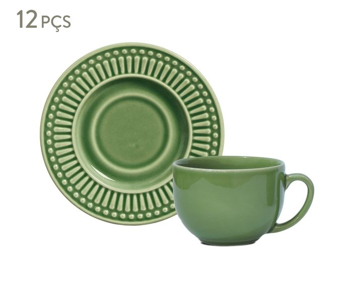 Jogo de Xícaras para Chá com Pires Roma Verde Sálvia - 161ml | Westwing.com.br