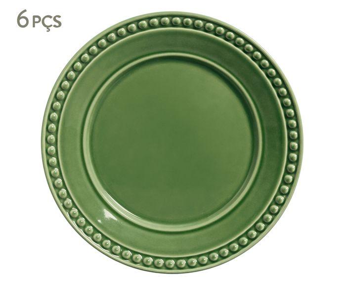 Jogo de Pratos Rasos Atenas Verde Sálvia - 26cm   Westwing.com.br