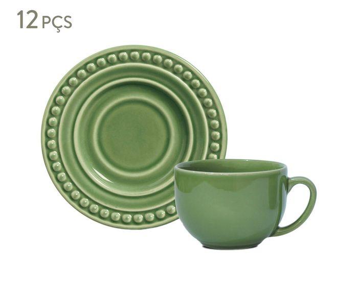 Jogo de Xícaras para Chá com Pires Atenas Verde Sálvia - 161ml | Westwing.com.br