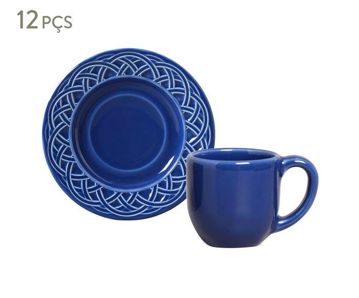 Jogo de Xícaras para Café com Pires Cestino Azul Navy - 72ml | Westwing.com.br