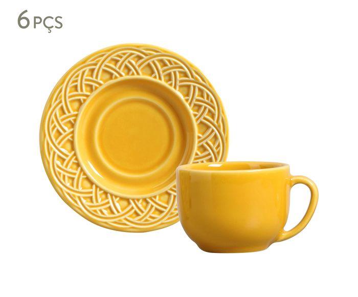 Jogo de Xícaras para Chá com Pires Cestino Mostarda - 161ml   Westwing.com.br