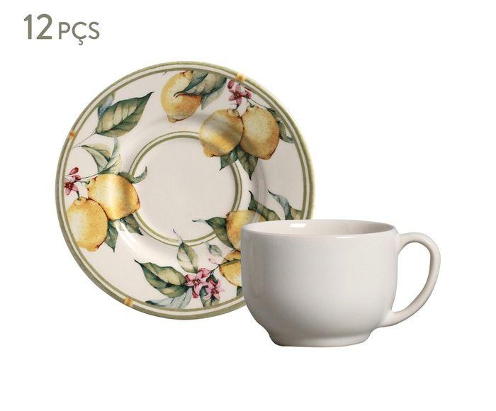 Jogo de Xícaras para Chá com Pires Mônaco Limone - 161ml   Westwing.com.br