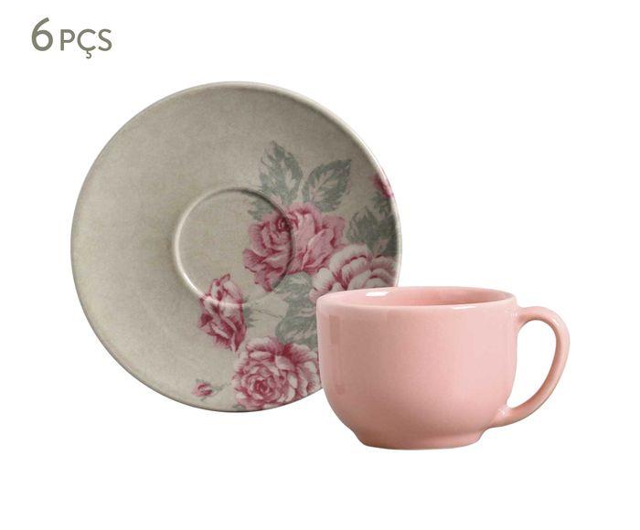Jogo de Xícaras para Chá com Pires Coup Rosé Garden - 198ml | Westwing.com.br