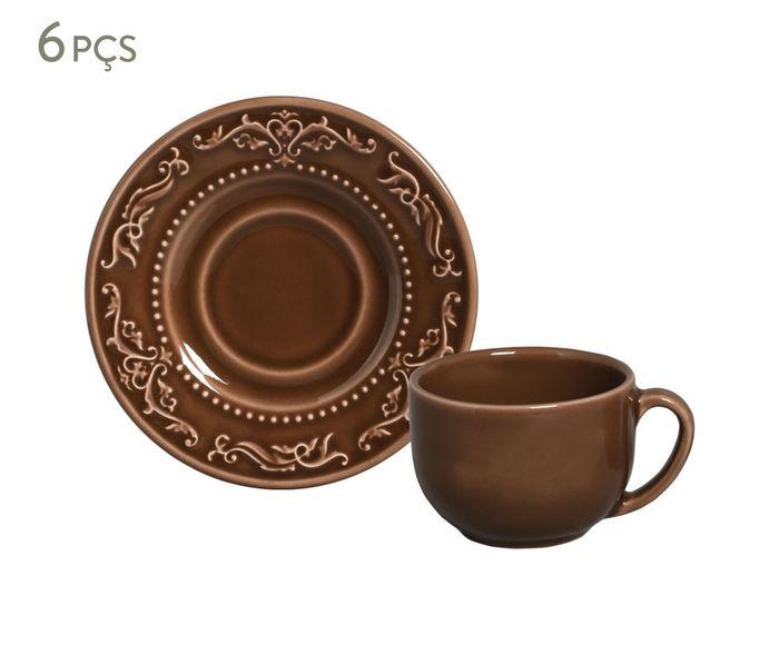 Jogo de Xícaras para Chá com Pires Acanthus Cacau - 161ml | Westwing.com.br