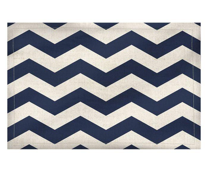 Lugar Americano em Linho Misto Zigzag Azul - 37X50cm | Westwing.com.br