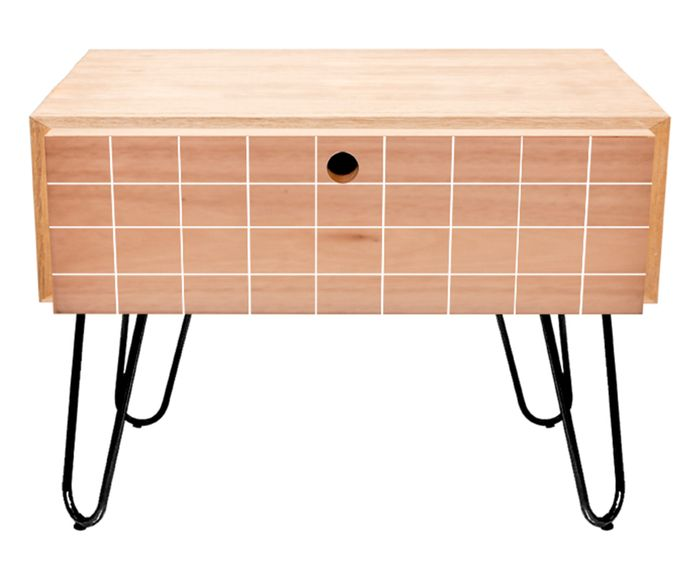 Mesa Lateral Wood White Grid - 50,5X51X44cm | Westwing.com.br