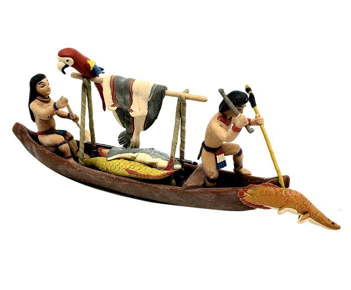 Escultura Canoa Macuxi com Peixes - 4X10X24cm | Westwing.com.br