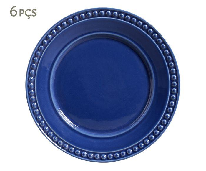 Jogo de Pratos Rasos Atenas Azul Navy - 26,5cm | Westwing.com.br