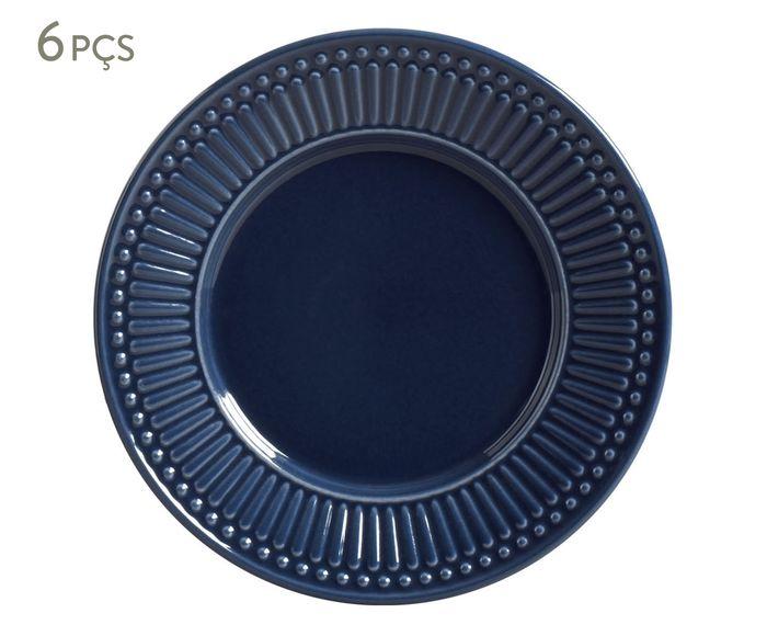 Jogo de Pratos para Sobremesa Roma Deep Blue - 20,5cm | Westwing.com.br