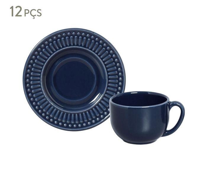 Jogo de Xícaras para Chá com Pires Roma Deep Blue - 161ml | Westwing.com.br