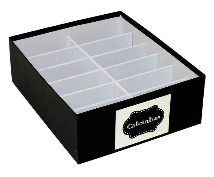 Caixa Organizadora para Calcinhas Tag Nola Preta - 30X10X25cm | Westwing.com.br