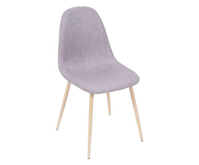 Cadeira em Linho Layla Natural e Cinza - 45X85,5X40cm   Westwing.com.br