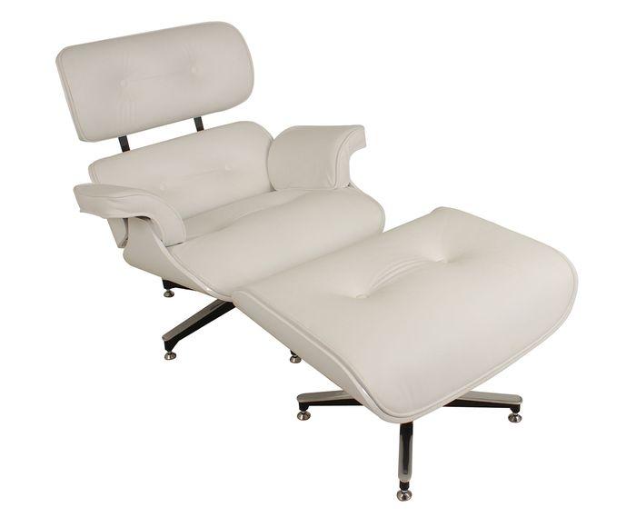 Poltrona Com Pufe em Couro Ecológico Lounge Chair - Cru   Westwing.com.br