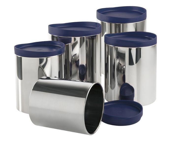 Jogo de Potes para Mantimentos em Inox Five - Azul | Westwing.com.br