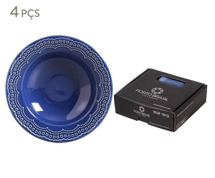 Jogo de Pratos Fundos Madeleine Azul Navy - 22cm | Westwing.com.br