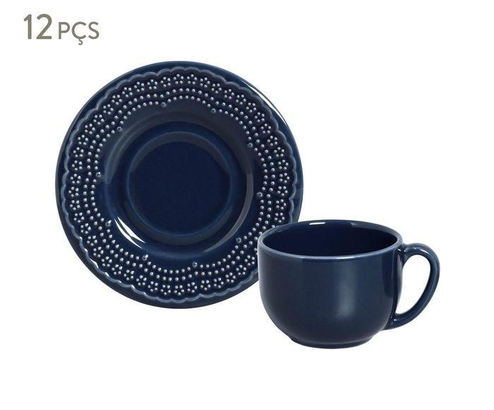 Jogo de Xícaras para Chá com Pires Madeleine Deep Blue - 161ml   Westwing.com.br