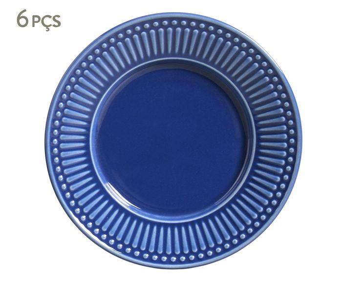 Jogo de Pratos para Sobremesa Roma Azul Navy - 20,5cm | Westwing.com.br