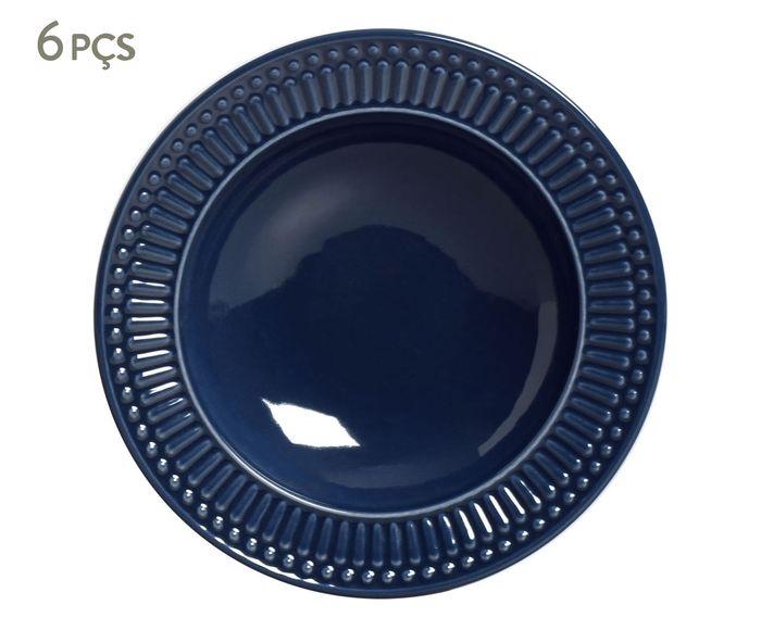 Jogo de Pratos Fundos Roma Deep Blue - 22cm | Westwing.com.br
