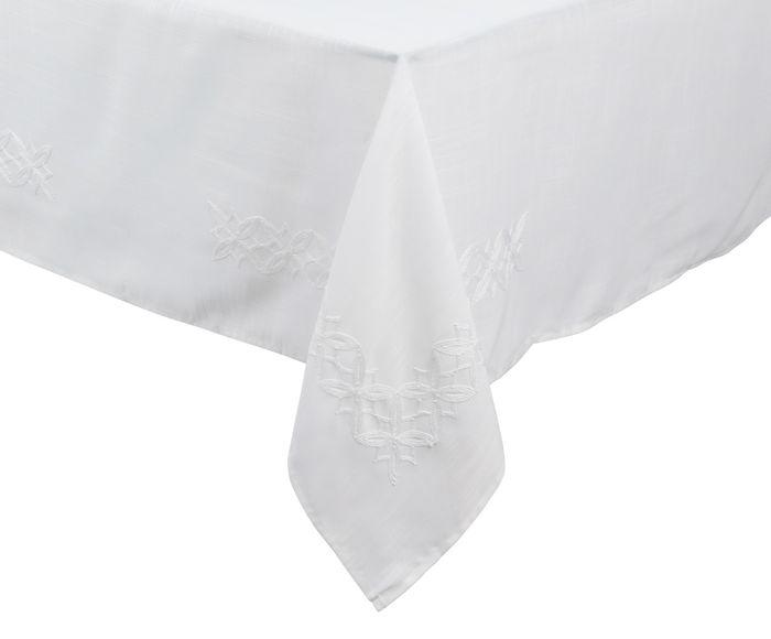 Toalha de Mesa em Linho Auguri Fiori Branca - 220X220cm | Westwing.com.br