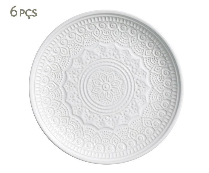 Jogo de Pratos para Sobremesa Agra Branco - 20cm   Westwing.com.br