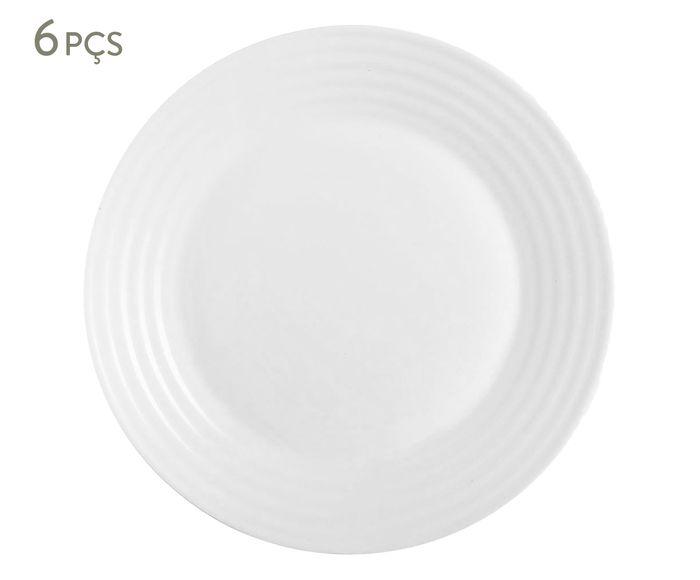 Jogo de Pratos para Sobremesa Harena Branco - 19,5X1,8cm   Westwing.com.br